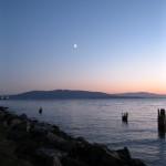 Moon at Sunset - Kayak Bellingham Bay